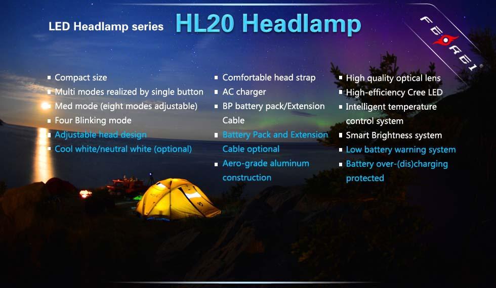 Ferei Neutral White LED Headlamp HL20 Output 540 Lumens Beam distance 150m