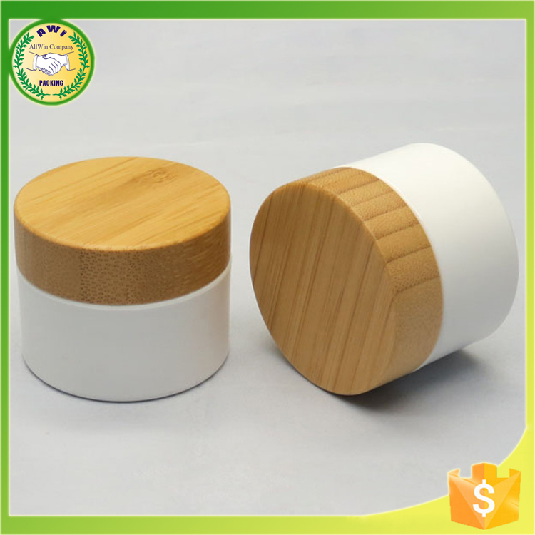 glass jars with bamboo lids with frosted glass cosmetic jars for body cream