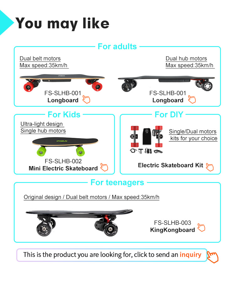 Dewasa Skateboard dengan Pegangan Aluminium Bingkai Baterai Powered Electric Skateboard