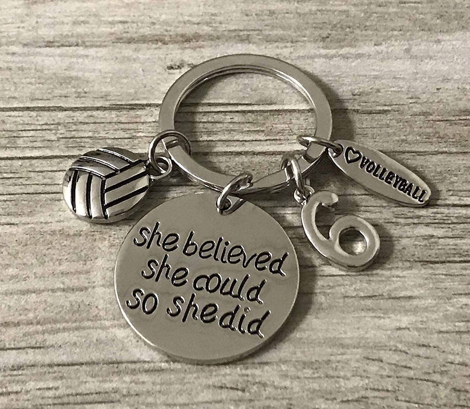 Personalized Volleyball Keychain with Number Charm, Custom She Believed She Could So She Did Volleyball Gift, Girls Volleyball Jewelry, Perfect Volleyball Player, Team and Coaches Gifts