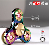 The best gift for friends pearl tri-spinner three leaf rainbow Gyro toys reduced pressure zinc alloy finger spinner.