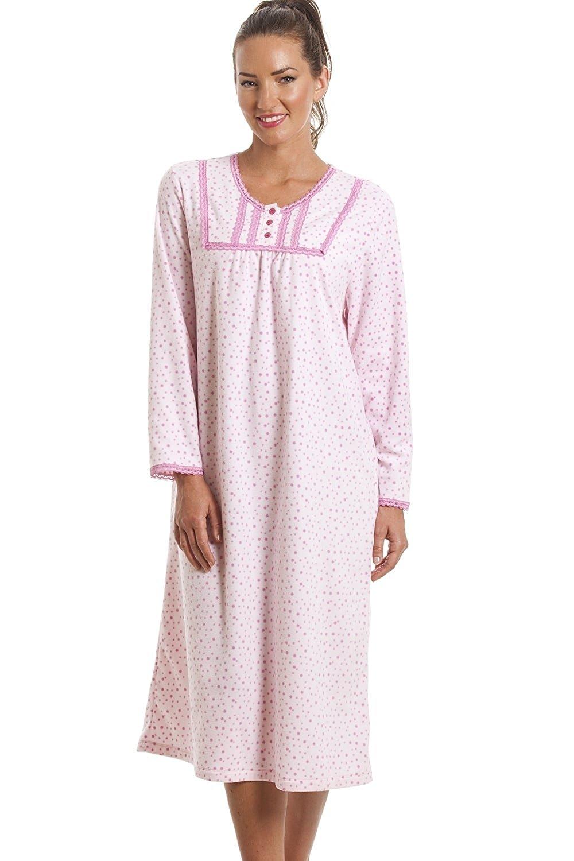 8983b02ea396 Get Quotations · Camille Womens Nightwear Classic Long Sleeve Light Pink  Polka Dot Soft Fleece Nightdress