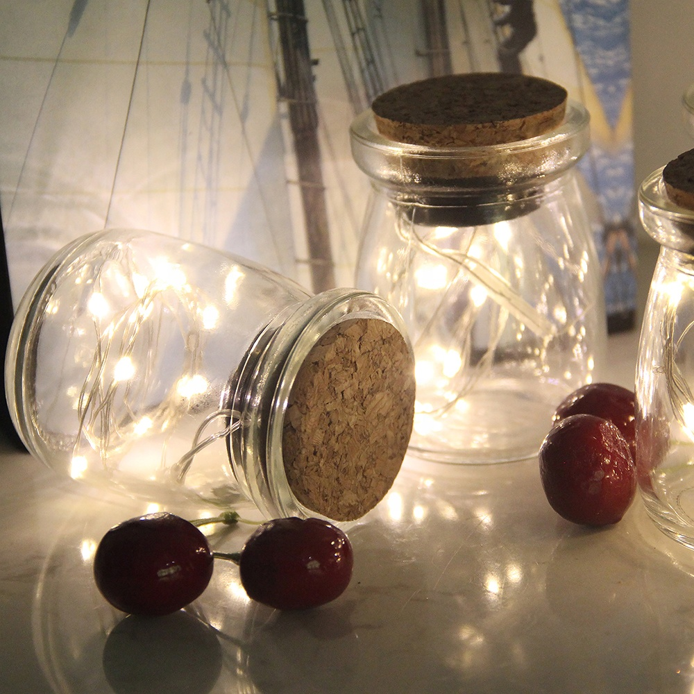 GLASS JARS WITH CORK LID, 10 LED COPPER WIRE STRING LIGHT, COOL WHITE/WARM WHITE/BLUE/PINK/RED