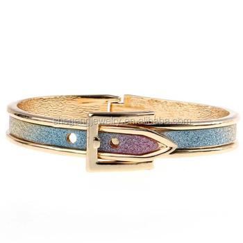 Belt Buckle Open Hinge Silver Glitter Bracelet