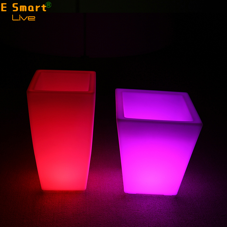 New Rattan plastic led flower pots light up pots lighting pot with a metal basin