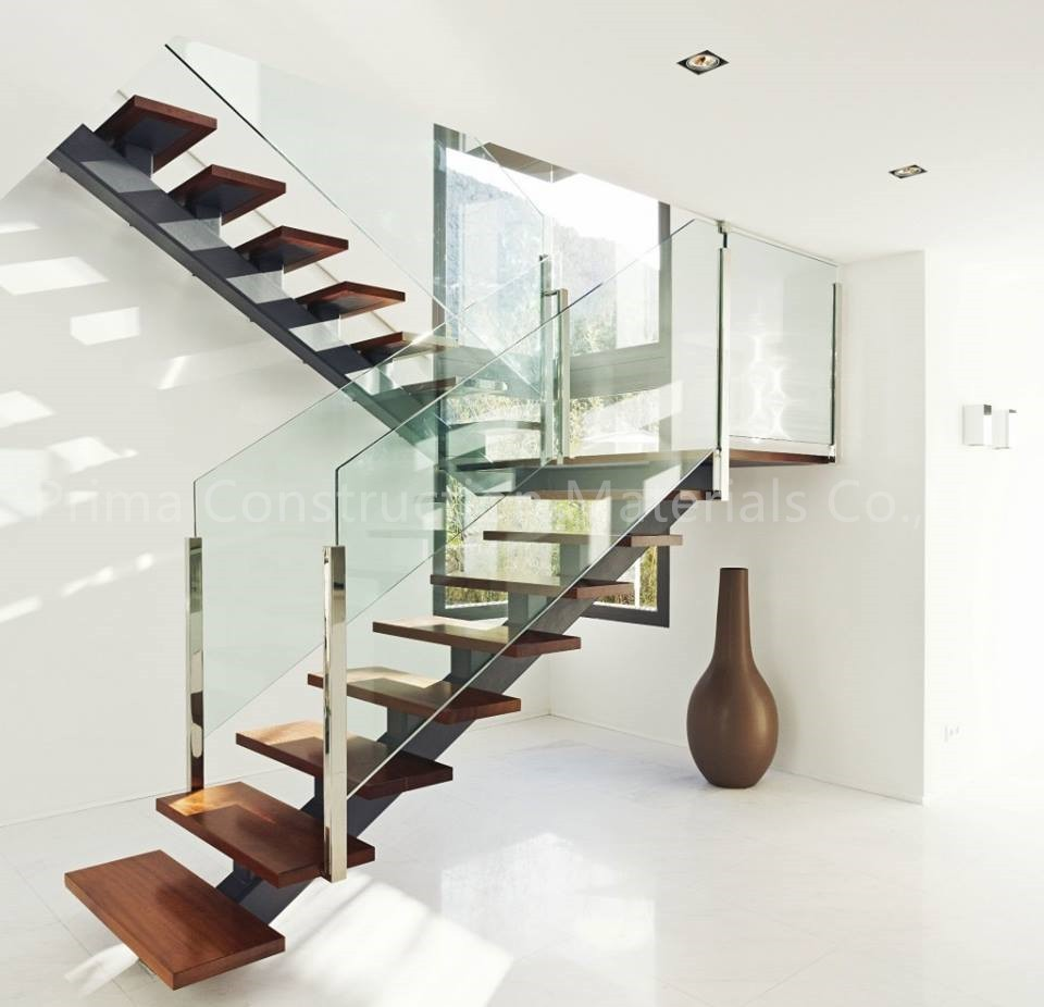 Best 25 Modern Staircase Ideas On Pinterest: Open Riser Steel Beam U-shaped Wood Staircase With Glass