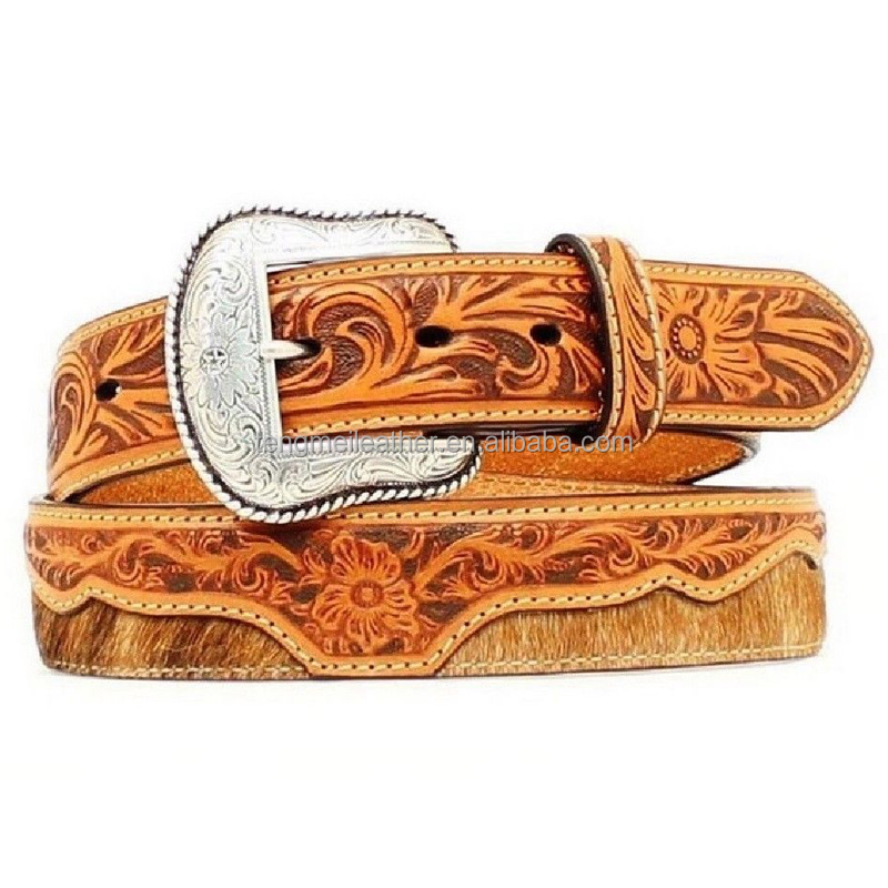 Brown Hair On Hide Genuine Floral Embossed Western Tooled Leather Belt