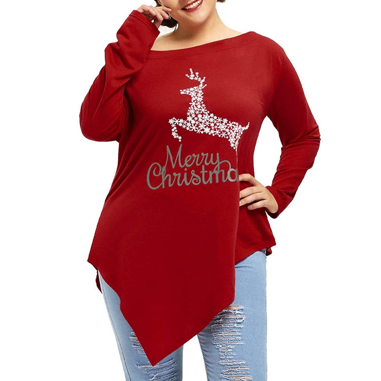 F_topbu Christmas Blouses for Womens,Women's Long Sleeve Christmas Print Tunic Shirts Fashion T-Shirt Casual Pullover Tops