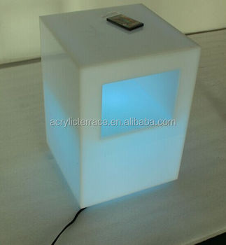 Foggy Acrylic Lighting Nightstand Lucite Bedside Table With Led