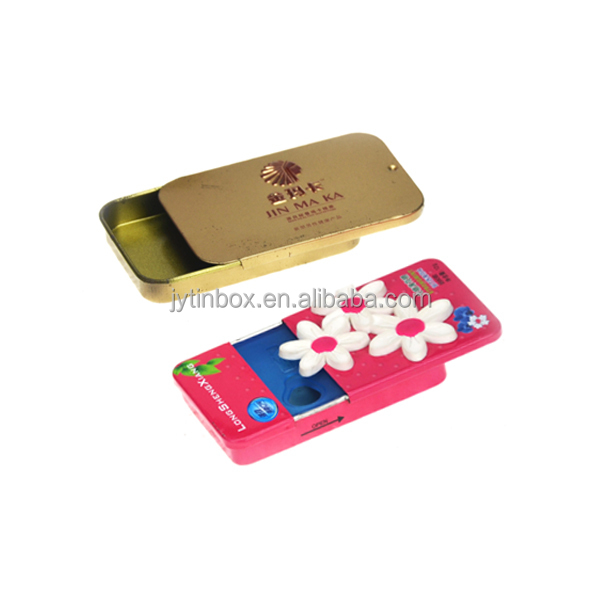 Recyclable Feature customized factory metal jewel storage gift tin box/case with sliding lids