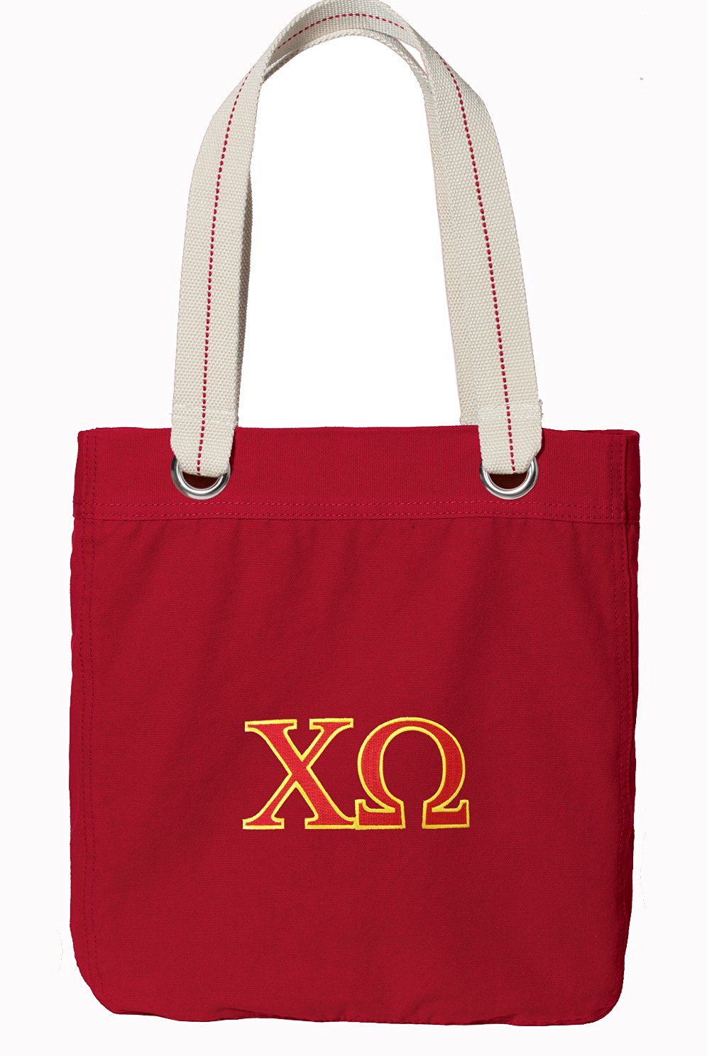 Chi Omega Tote Bag RICH Dye Washed RED COTTON CANVAS
