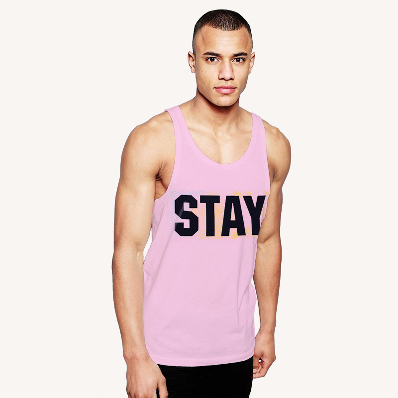 cheap 100% organic cotton digital printing slimming pink color private label tank top men gym custom fitness logo