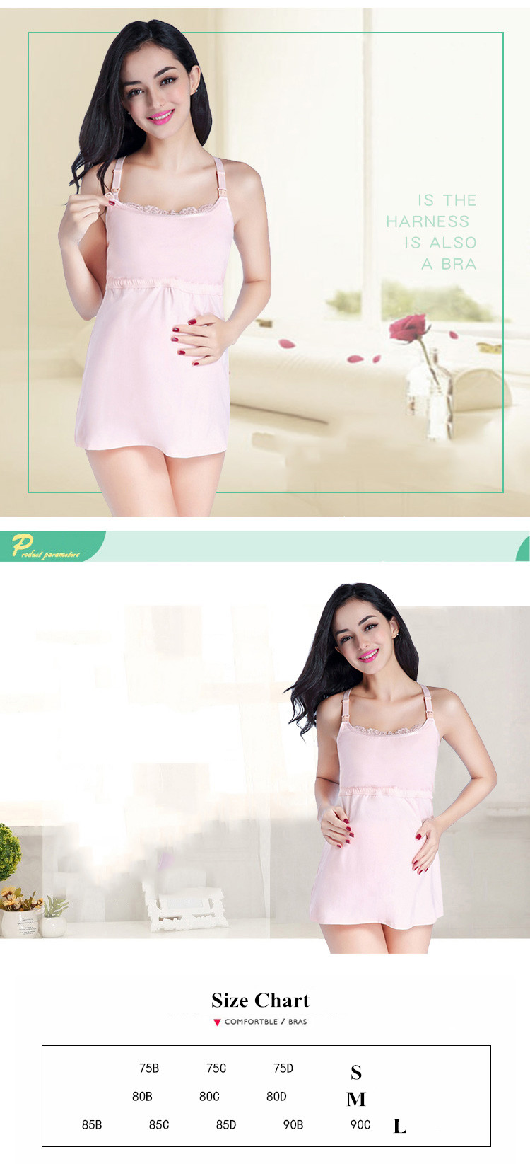 Cotton Lace Open Buttons Breastfeeding Bra Camilose Pregnant Sleepwear Postpartum Tank top