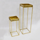 Outdoor Indoor Garden antique gold tall metal plant flower stand set planter tray