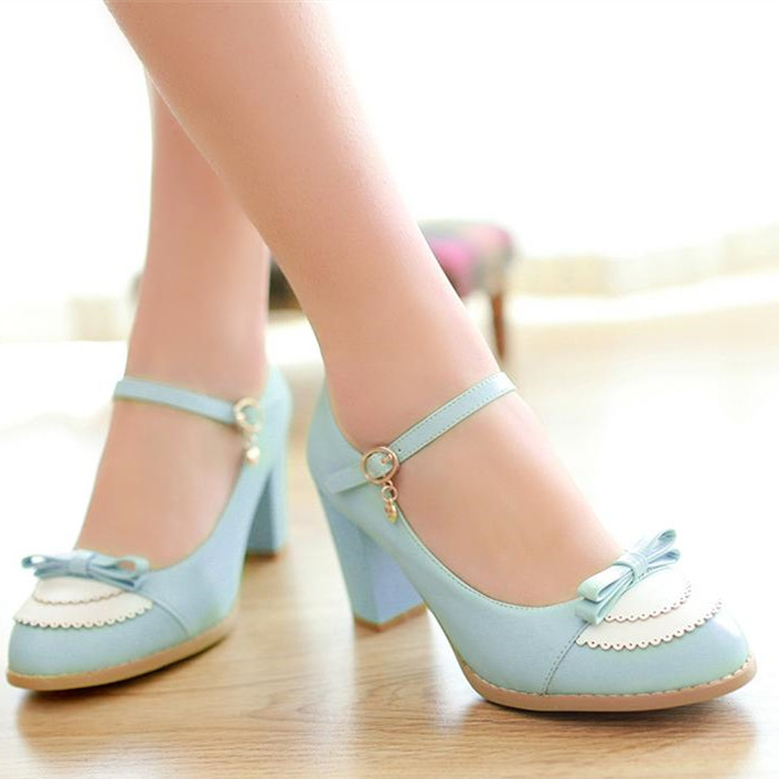 2014 spring single shoes colorant match thick heel metal decoration high-heeled shoes sweet women's casual shoes plus size small