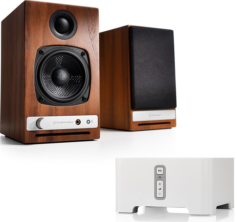 Audioengine HD3 Powered Bookshelf Speakers Walnut Bundle Sonos CONNECT Multi Room Digital Music