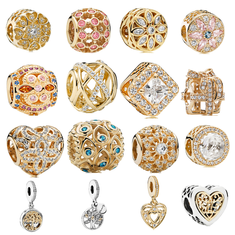 wholesale high quality 925 sterling silver filled 14 K gold <strong>charms</strong> fit for pandora
