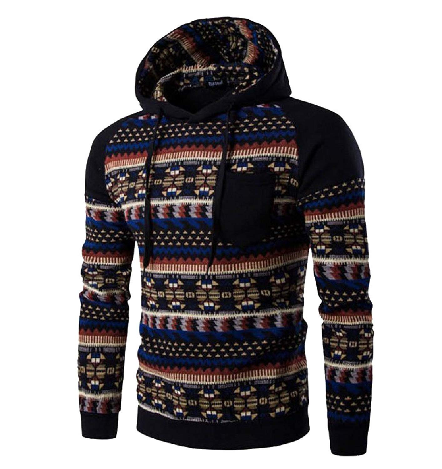 Abetteric Mens Long Sleeve Hooded Hoodies Splice Color Outerwear Tops