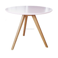 scandinavian solid oak wood MDF coffee table with pink MDF top