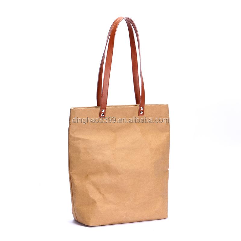 Alibaba Wholesale Washable Kraft Paper Handbag Plain Kraft Paper