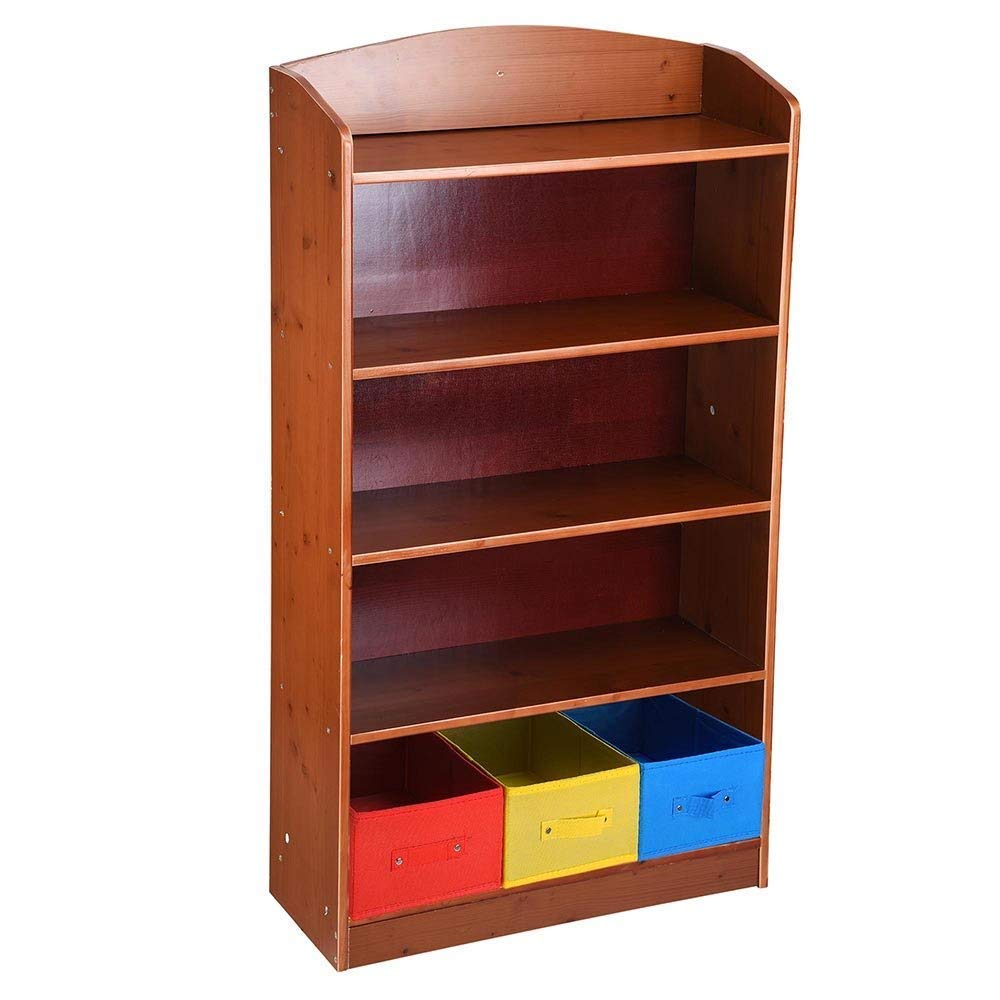 LeeMas Inc 5 Tier Brown Wood Bookshelf Bookrack Bookcase w/ 3 Non-Woven Bins Storage Organizer Shelving Home Office Furniture