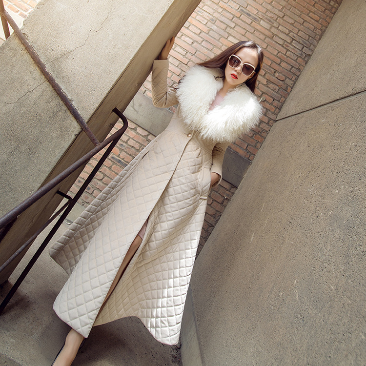 fashion ladies' long padding jacket cool europe style warm winter women large fur winter padding jacket