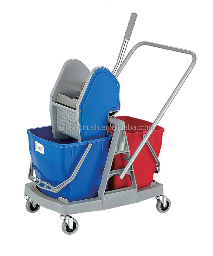 Hq2334 60l Double Wringer Mop Bucket Hotel Mop Cart Heavy