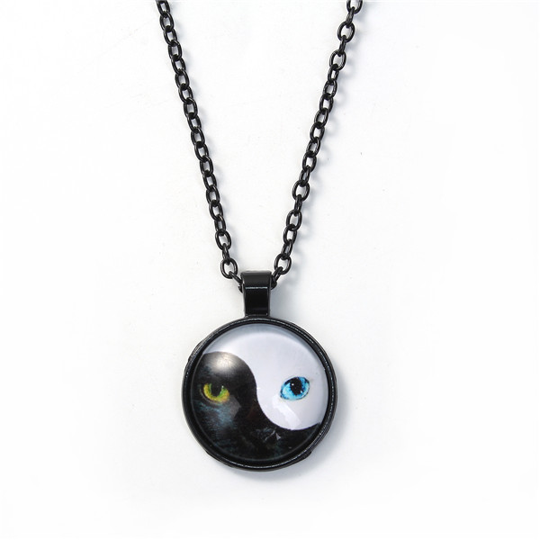 Glass Necklace Gunmetal White Yin Yang Eight Diagrams Cat