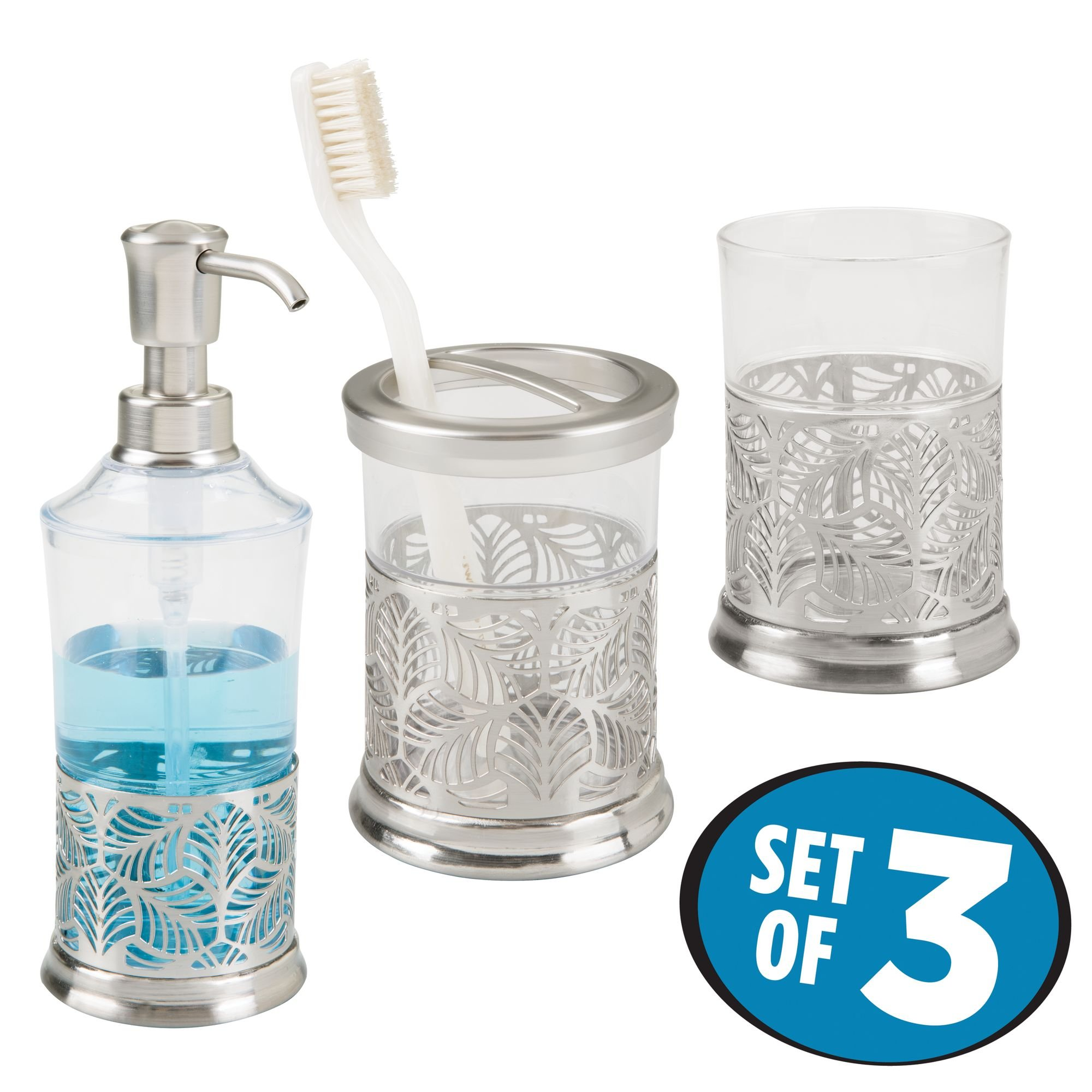 mDesign Decorative Bath Accessory Set with Leaf Design for Bathroom Vanity Countertops and Sinks, Includes Hand Soap Dispenser, Toothbrush Holder and Tumbler - Set of 3, Clear/Brushed