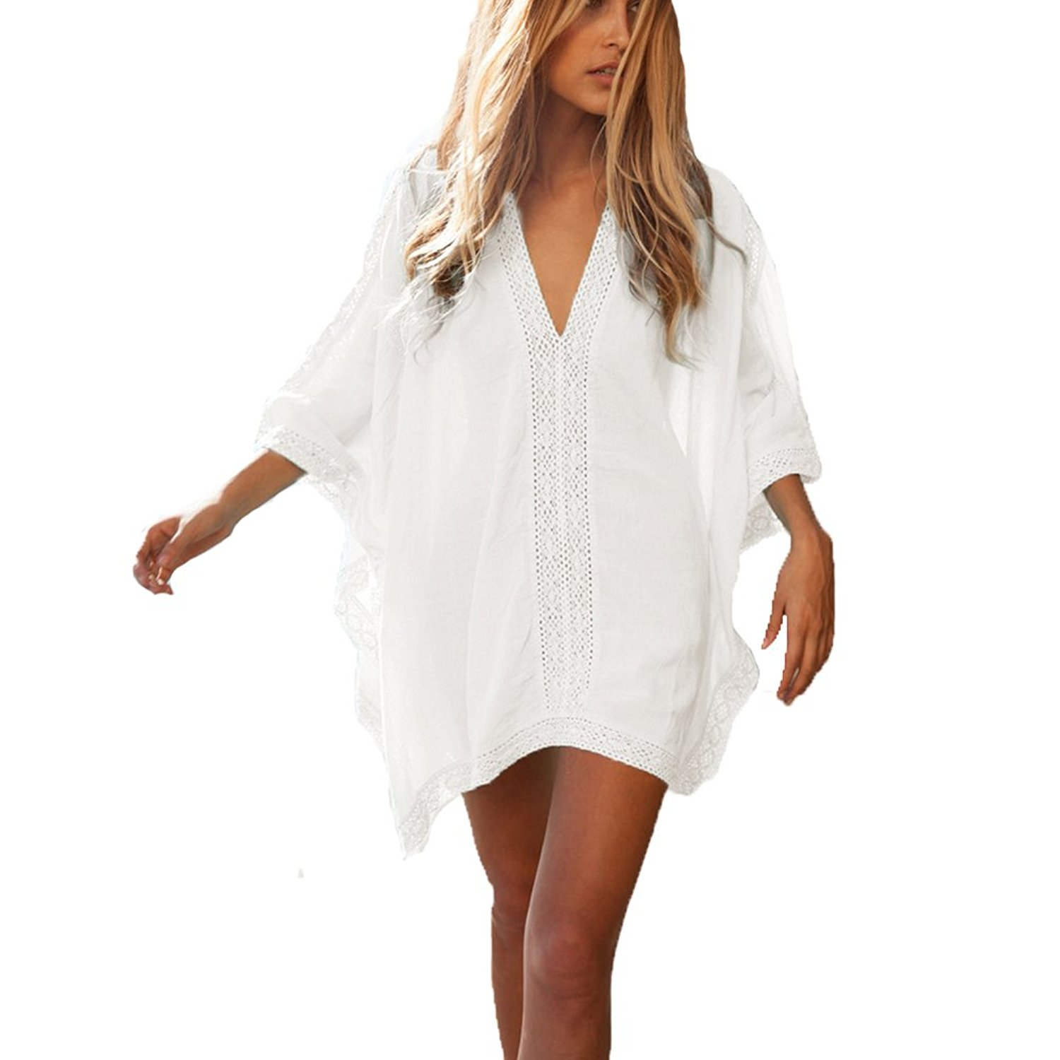 7dbc23ebd4 Get Quotations · Womens Floral Lace Bikini Swimwear Cover up Dress - Sexy  Deep V Neck Beach Swimsuit Coverups