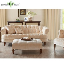 Luxury living room furniture noble tufted button baroque sofa