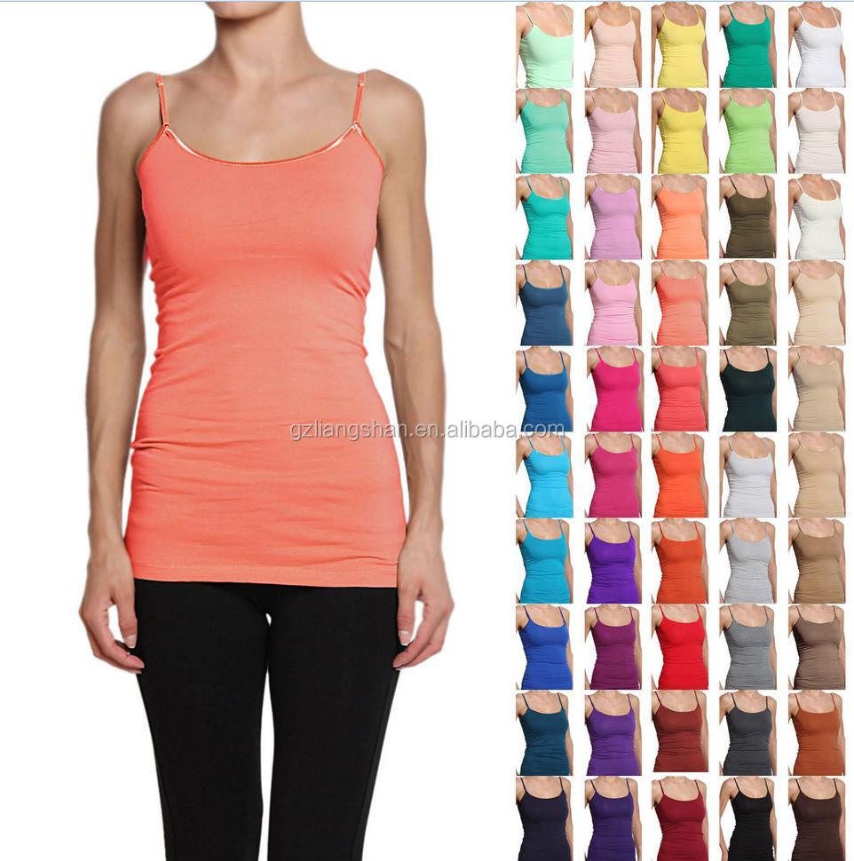 1dc3b519a0449a Long Basic Sphagetti Strap CAMI WOMEN TANK TOP Layering Plain All Colors