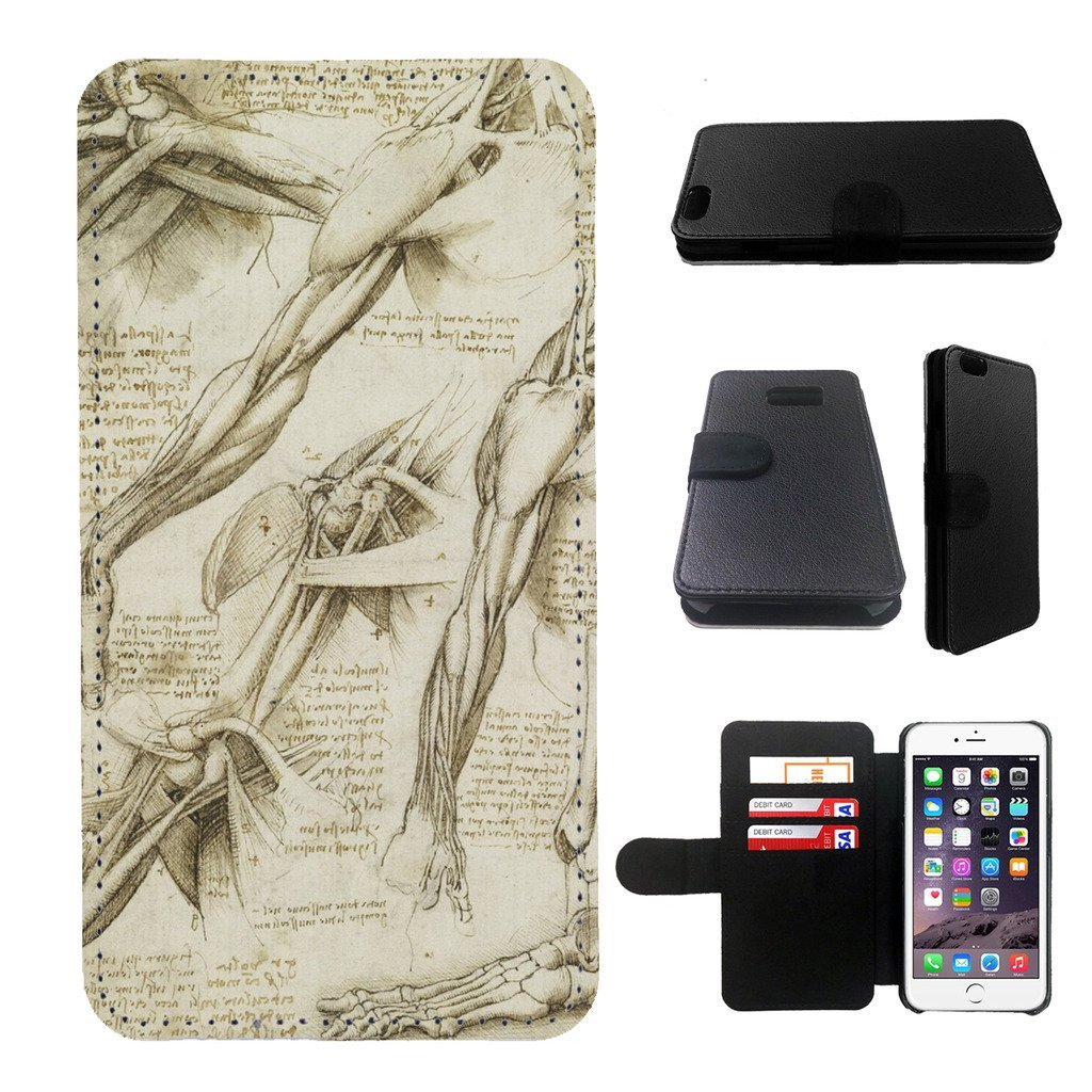 Leonardo da vinci, anatomy note Samsung Galaxy note 4 wallet leather case, galalxy note 4 wallet case, galaxy s5 flip case, black