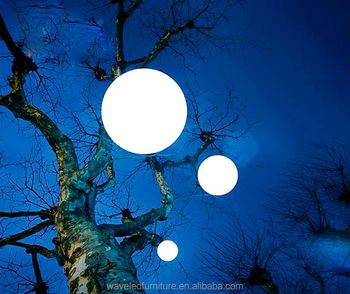 Great RGB Glow Moon Light Ball Waterproof Plastic Christmas Outdoor Hanging Led  Light Balls