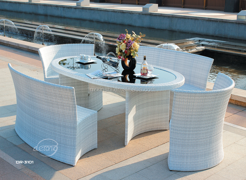 DeRong Stylish oval white 6 people rattan/wicker dining furniture outdoor endurable chair and table