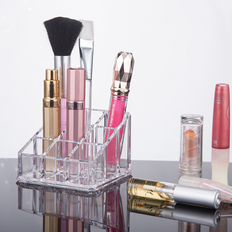 Acrylic Cosmetic <strong>Display</strong> 9 Slots Lipstick Stand Holder/ Makeup Brush Holder