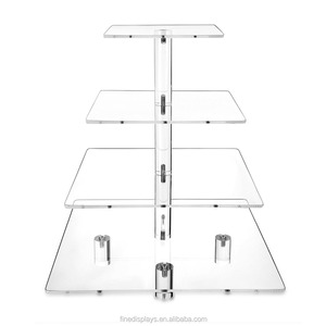 2018 New 4 tier Acrylic Wedding Cake Cupcake Tower Dessert Pastry Serving Platter Food Display Stand