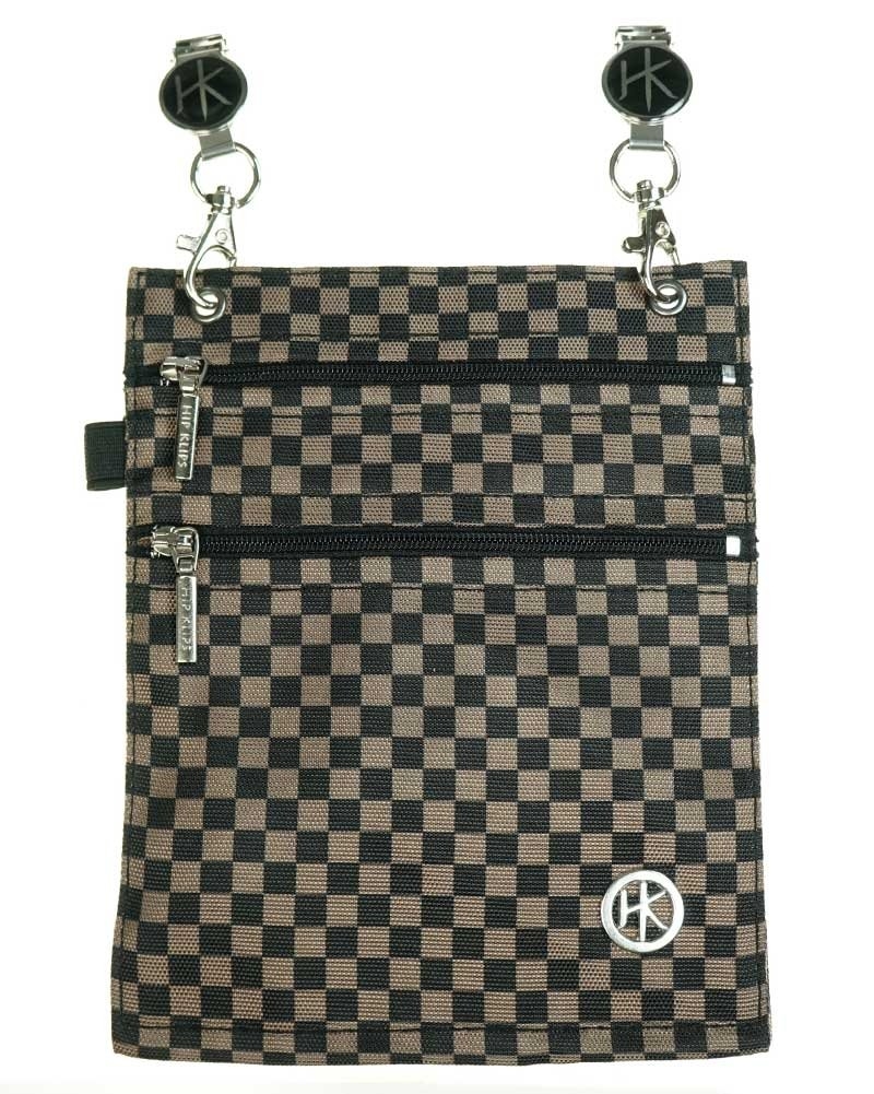 Double Zipper Hip Klip - Extra Large with Elastic Loop - Brown/Black Checker