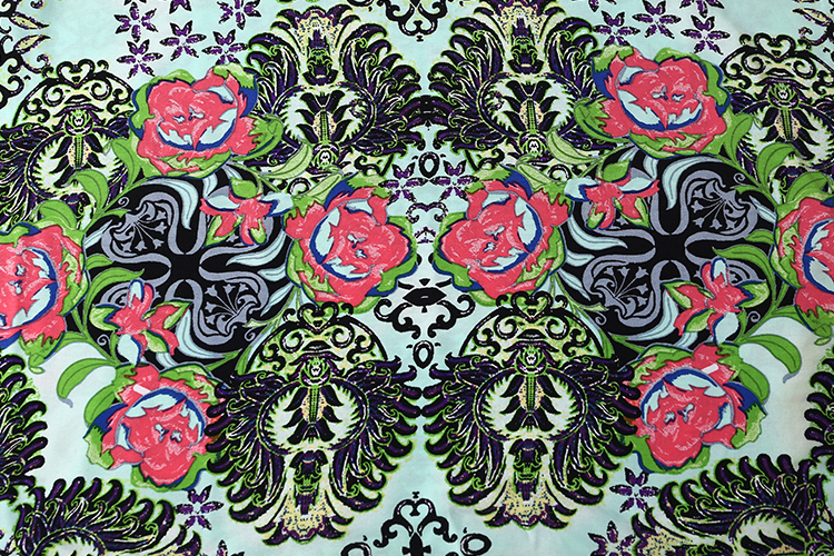 baroque print floral pattern 30s 100% viscose dress fabric