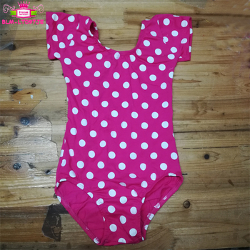 Ballet Dance Short Sleeve Cotton Hot Pink With White Dots Kids Leotard