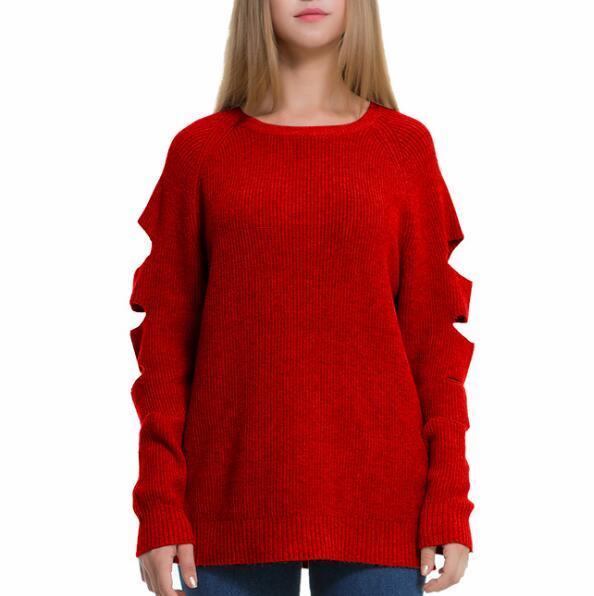 2017 2018 latest cut holes autumn winter girls young womens woolen sweater