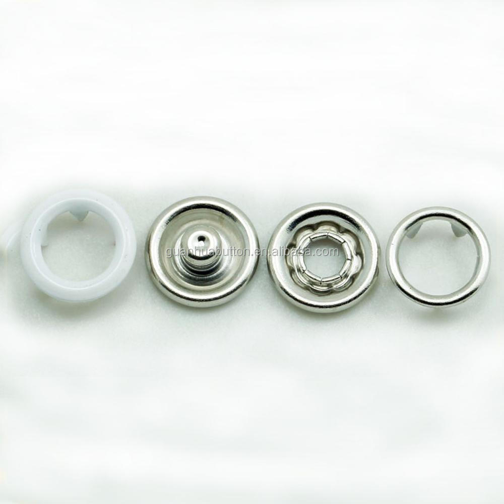 custom brass material white color double ring prong metal snap button