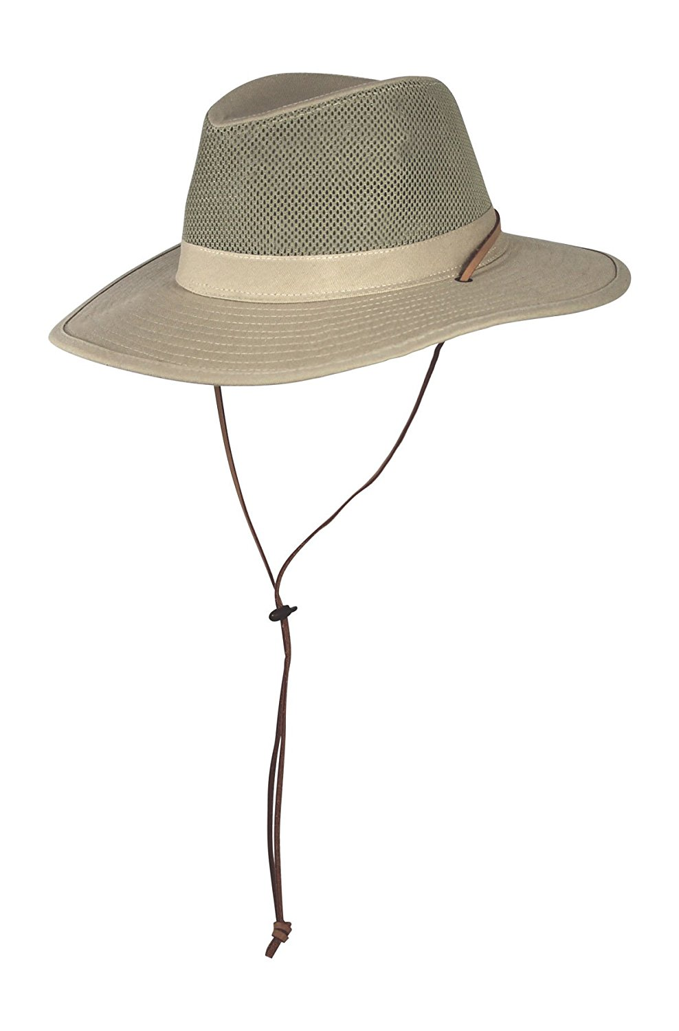 1c8a568f Get Quotations · SPF 50+ Vented Outback Safari Sun Hat w/Chin Strap, Mesh  Crown Breezer