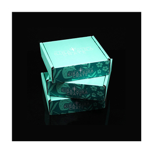 Green color both sides printed with texture packaging corrugated paper box