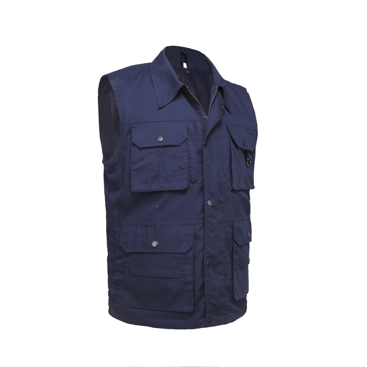 wholesale custom Men's Waistcoat Cargo Vests for Multi Pockets worker cameraman journalist shooting Hiking Journalist work vest