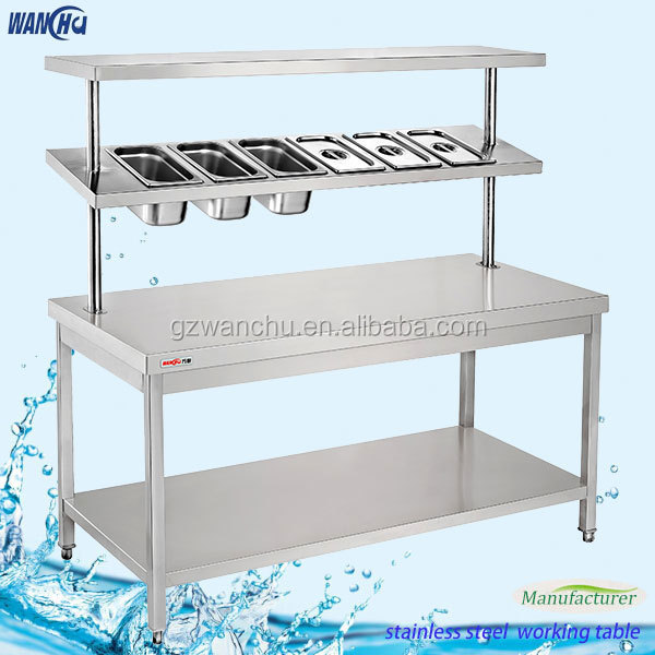 Height Adjustable Working Table,Kitchen Work Table,Worktable With GN Pan  Top Shelf