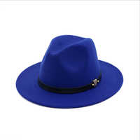 in stock cheap price flat top wide brim fedora hat with band wholesale good quality plain winter warm woman fake wool felt hat