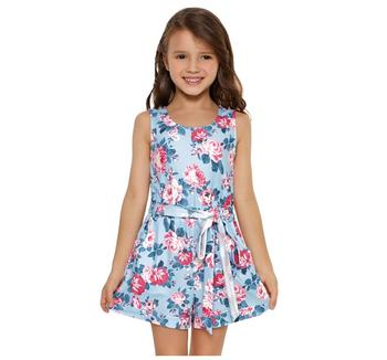 Trade Assurance   Blue Floral Romper for Little Girls Kids Romper