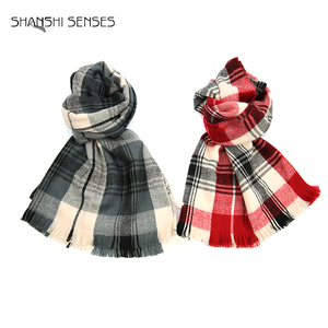 Ladies tartan plaid blanket big acrylic shawl scarf for sale