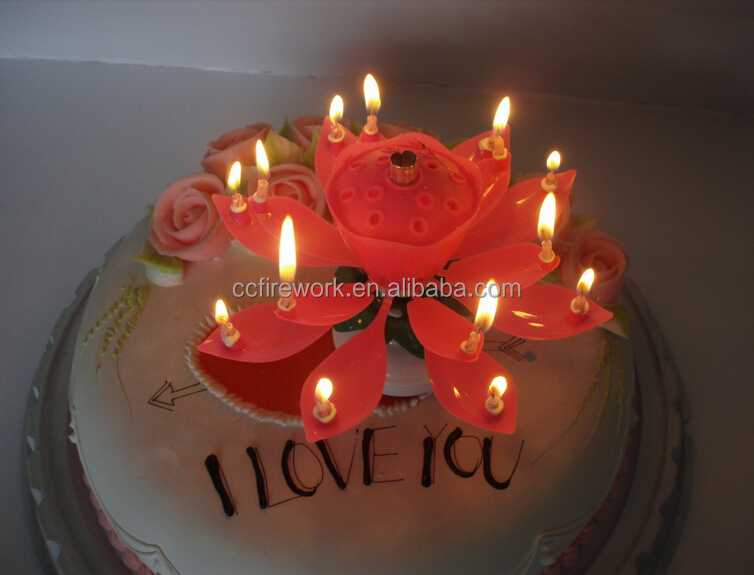 Lotus Flower Music Fireworks Birthday Candle